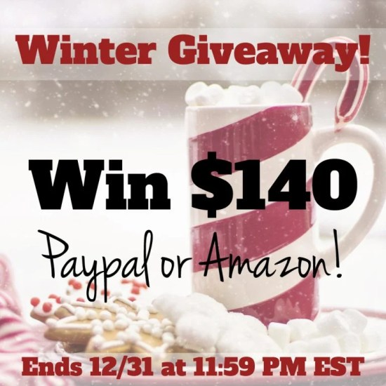 Enter to win your choice of either Paypal or Amazon $140 eCard in our Winter Giveaway