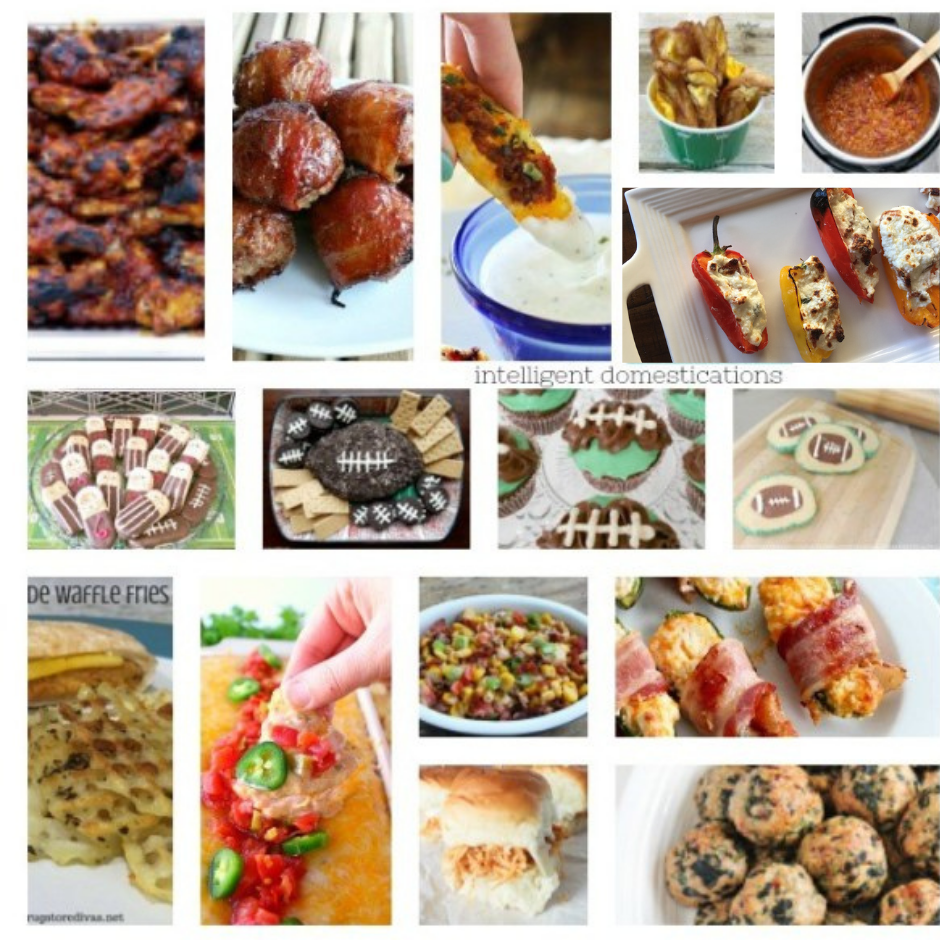 a collage of party food recipes to eat at a Superbowl party
