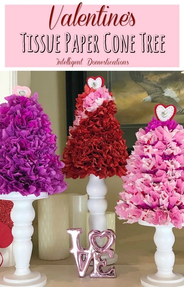 How To Make A Tissue Paper Cone Tree. Tissue Paper Cone Valentine's Tree Decor. DIY Tissue Paper Cone Tree tutorial. Valentine's Tissue Paper Cone Tree. #tissuepapertree #conetree