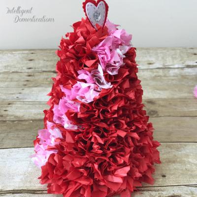 DIY Valentine's Tissue Paper Cone Tree