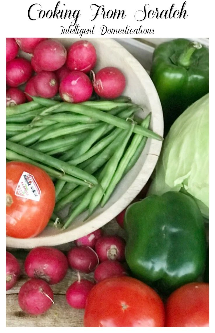 Cooking from Scratch with fresh vegetables. Buy Fresh From Florida produce and support local farmers. Tomatoes, Snap beans, radish, bell peppers and cabbage recipe ideas. #freshfromflorida