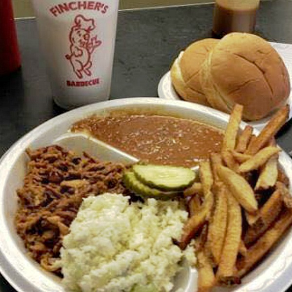 Where the locals eat in Macon, Ga. Photo of BBQ plate at Fincher's in Macon, Ga.