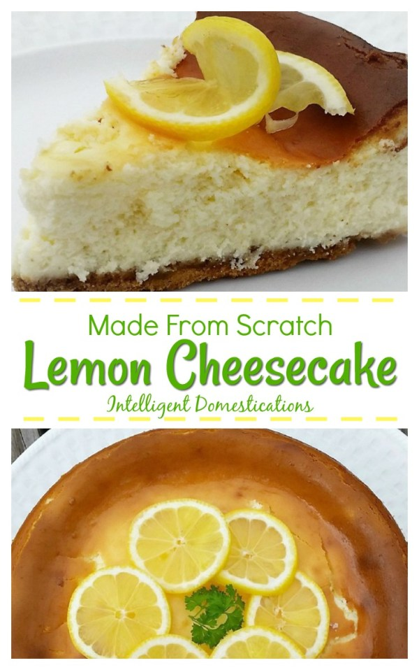 Make a delicious Homemade Lemon Cheesecake with only eight ingredients and that includes the crust! Easy recipe. #cheesecake #lemondessert
