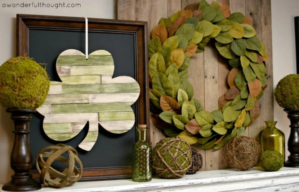 Shabby Chic St. Patrick's Day Mantle