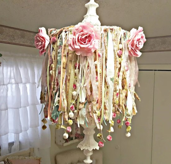 DIY Shabby Boho chandelier makeover