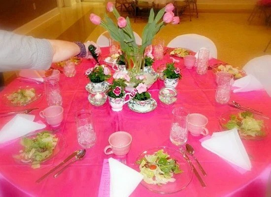 Cherry Blossom Womens Ministry event. Pink Table Decor Ideas