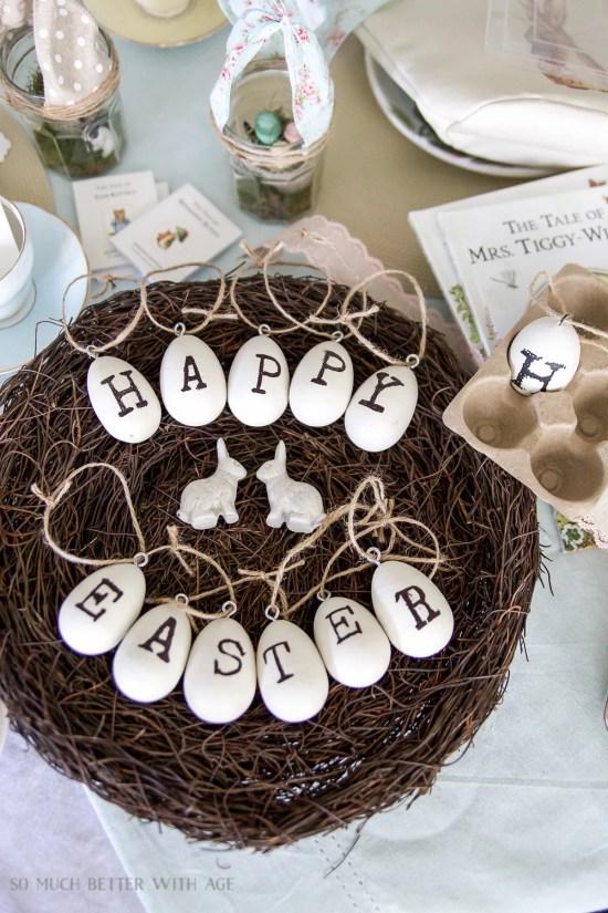 Vintage wood stamped Happy Easter Eggs