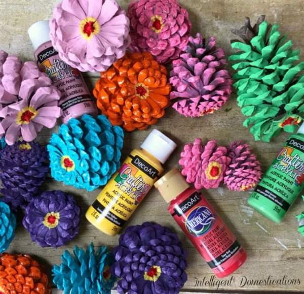 Painted Pine Cones. Pine Cones painted in spring colors