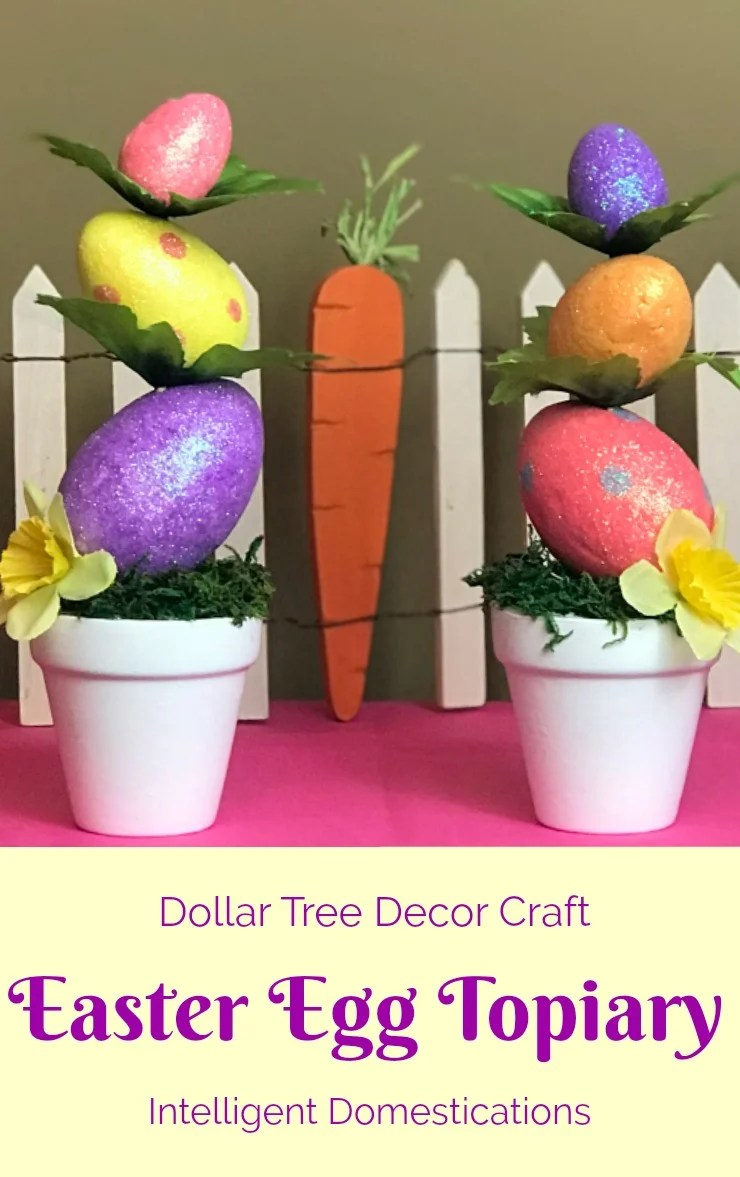 Dollar Tree Easter Decor. How to make a Mini Easter Egg Topiary. #eastercraft #topiary