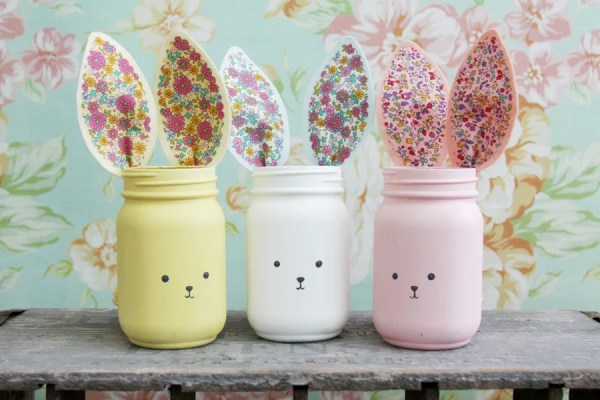 Colorful Bunny Mason Jars