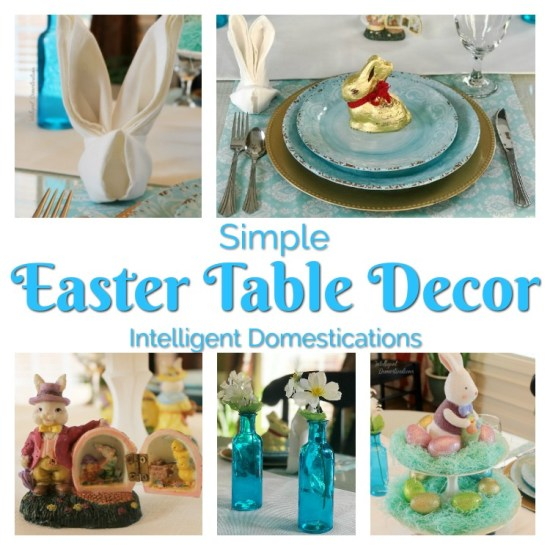 Simple Easter Table Decor. Easter Table Decorations. Blue Easter Table setting. #Easter