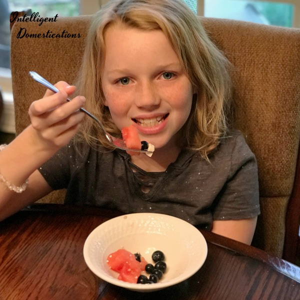 Enjoying Watermelon Blueberry Feta Salad. Watermelon Blueberry Summer Salad Recipe. How to make a Patriotic Watermelon Blueberry Summer Salad . Picnic food. Summer fruit salad. #picnicfood #watermelon #blueberries