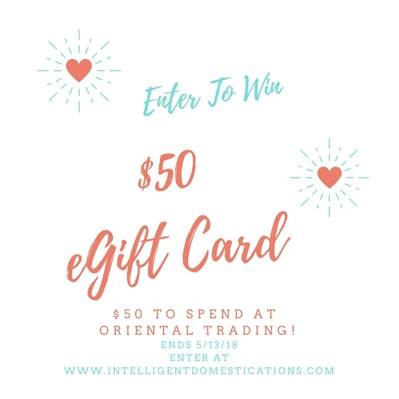 Enter to win $50 credit to Oriental Trading. Giveaway