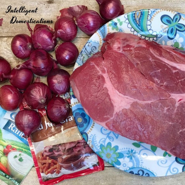 Mississippi Crockpot Roast recipe without the peppers. Ingredients for Not Quite Mississippi Crockpot Roast. How to cook a chuck roast in the Crockpot. Crockpot Roast with Red Pearl Onions. #crockpotdinner #4ingredients #dinnerrecipe