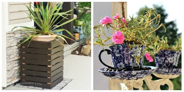 Merry Monday Features. Mother's Day DIY Ideas Day Can Make For Mom. Blue and White Tea Cup Planter. DIY Box Planters