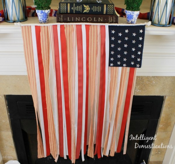 DIY Red White and Blue Ribbon Flag for 4th of July decor. Photo of Patriotic Ribbon Flag. #ribbonflag #diy #Patrioticdecor #USAdecor #diydecor #4thofjuly