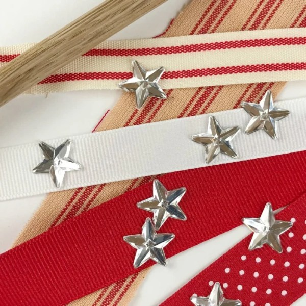Ribbon, Stars and Dowel supplies for DIY Ribbon Flag craft project