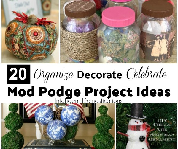 20 Mod Podge Project Ideas for beginners and seasoned crafters too. Decoupage project ideas for around the house. #craft #diy #decoupage #modpodge #diydecor