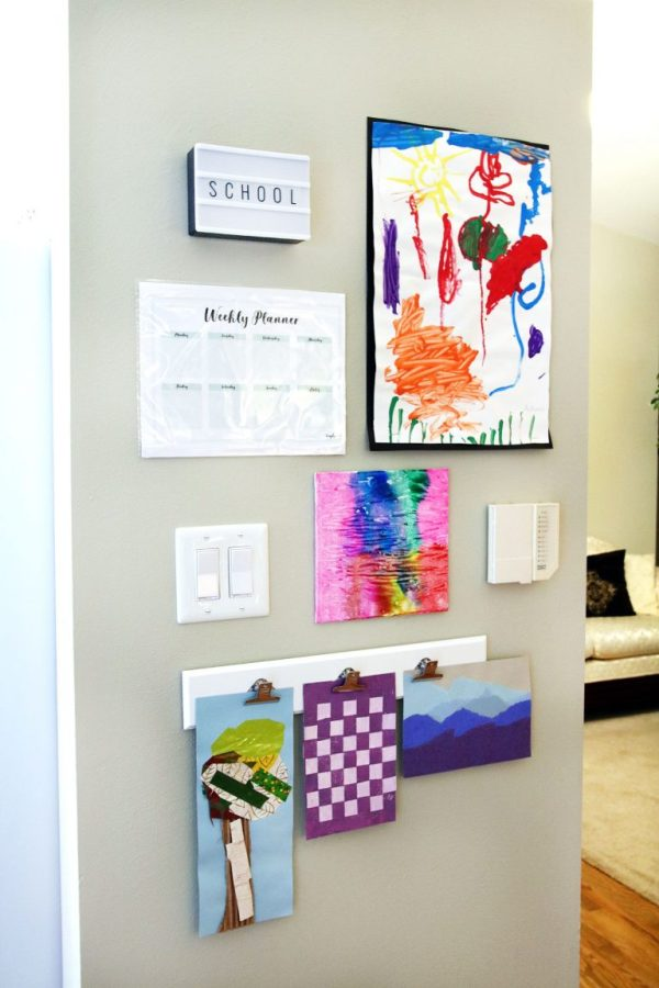 DIY Mini Gallery Wall to display school work from the kiddos