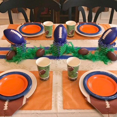 Blue And Orange Football Party Tablescape
