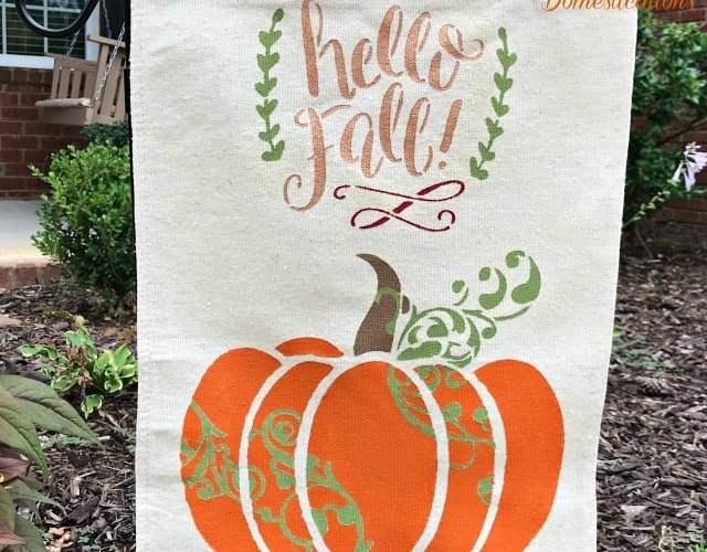 DIY Garden Flag Using A Pumpkin Stencil