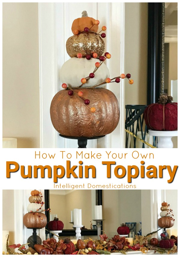 How To Make Your Own Pumpkin Topiary for mantle decor. Make matching Pumpkin Topiaries for your mantle with our easy tutorial.