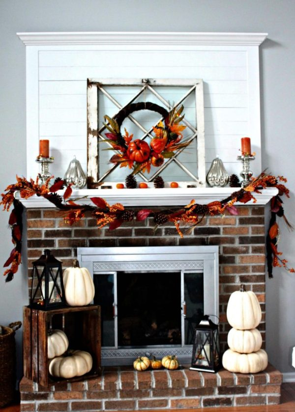 How to style a mantle with fall pumpkins