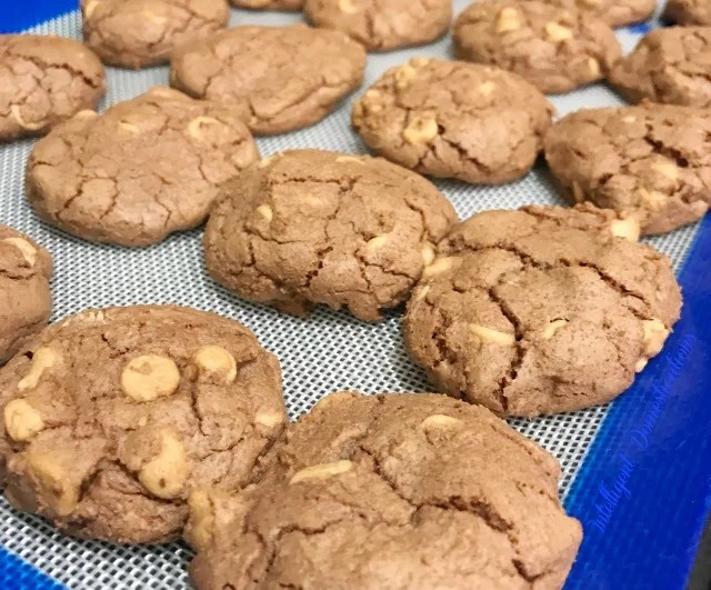Peanut Butter Chip Chocolate Cookies easy recipe. The perfect combination of chocolate and peanut butter in a cookie! If you love chocolate cookies, you'll love this easy recipe. #choctoberfest #chocolatecookies #MakeSomethingDivine