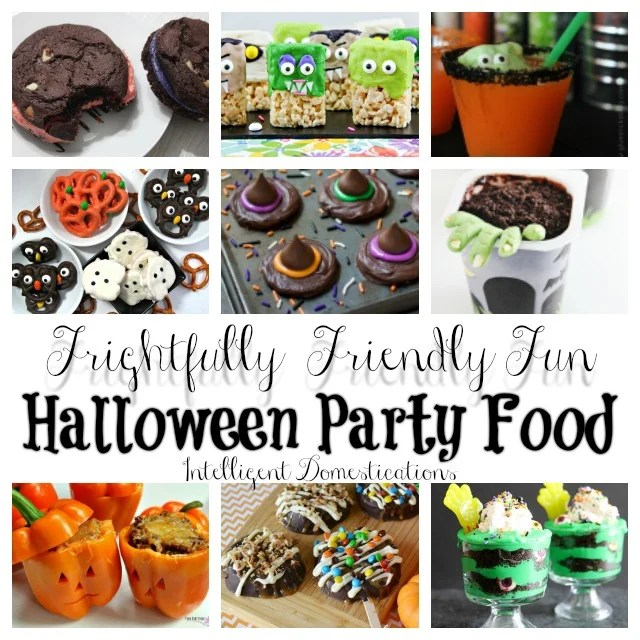 Frightfully Friendly Fun Halloween Party Food Ideas complete with recipes and instructions. Some are cute and some are creepy but they are all perfect for your Halloween party menu! #halloween #halloweenparty #creepyfood #notsoscary #halloweenfood