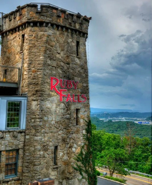 Ruby Falls at Lookout Mountain.4 Things to See and Do in Chattanooga, Tn. for couples or Families. A weekend trip to Chattanooga will be adventurous packed when visiting Ruby Falls, Rock City, the Incline and The Chattanooga Zoo. #rubyfalls #seerockcity #chattanooga