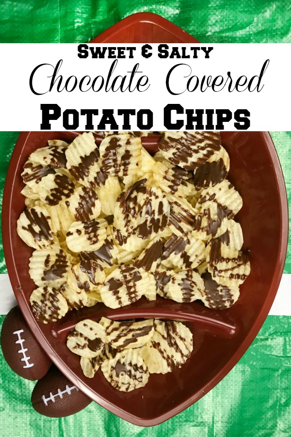 Enjoy these super easy to prepare Sweet & Salty Potato Chips for your next Football party! Only two ingredients and ready in minutes. A delicious combination of sweet and salty. #footballfood #sweetandsalty #chocolate