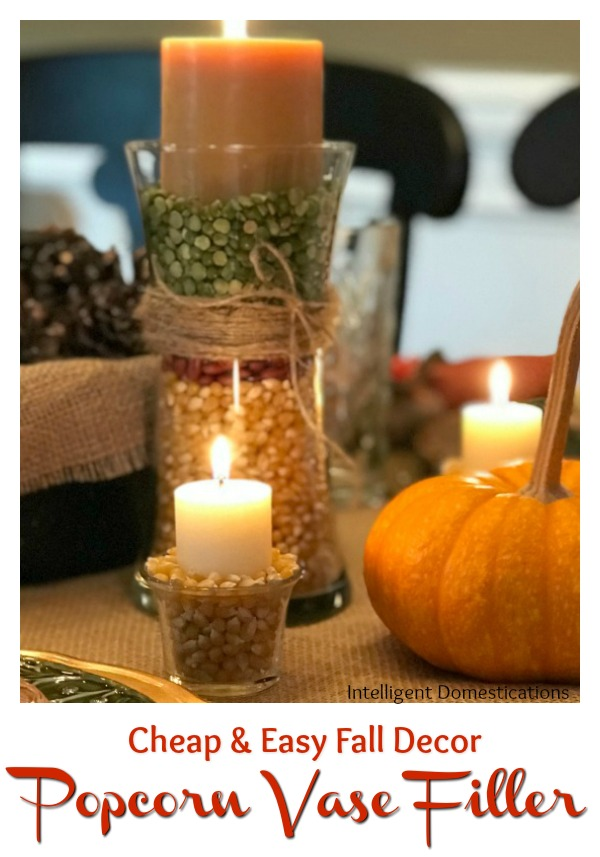 How to Use Popcorn As A Vase Filler. Create easy and affordable DIY Fall Decor using candles to set the mood. #DIYDecor