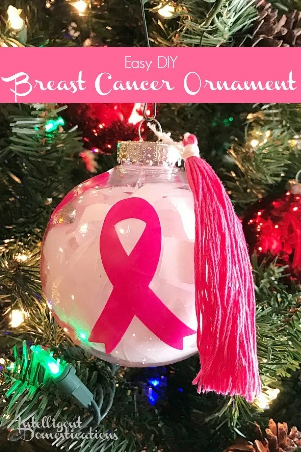 Easy DIY Breast Cancer Ornament you can make for your Christmas Tree. Pink Ribbon Christmas Tree Ornament easy tutorial using simple cheap supplies.