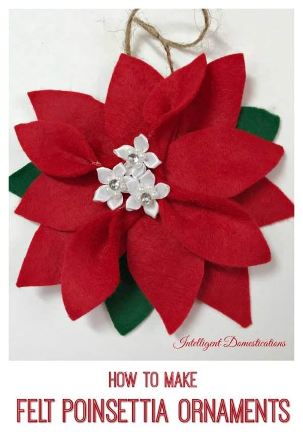 How To Make A Felt Poinsettia Christmas Tree Ornament #feltornament #feltcraft