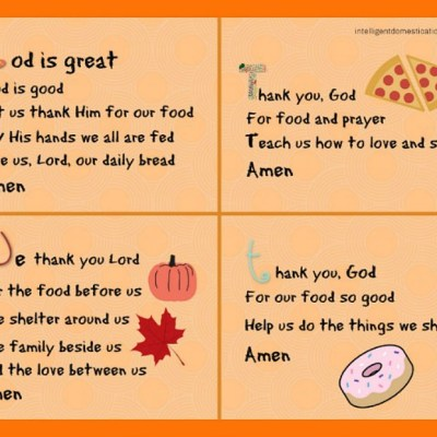 Short Mealtime Prayers for Children Printable