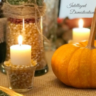 Easy Fall Popcorn Filled Candle Decor