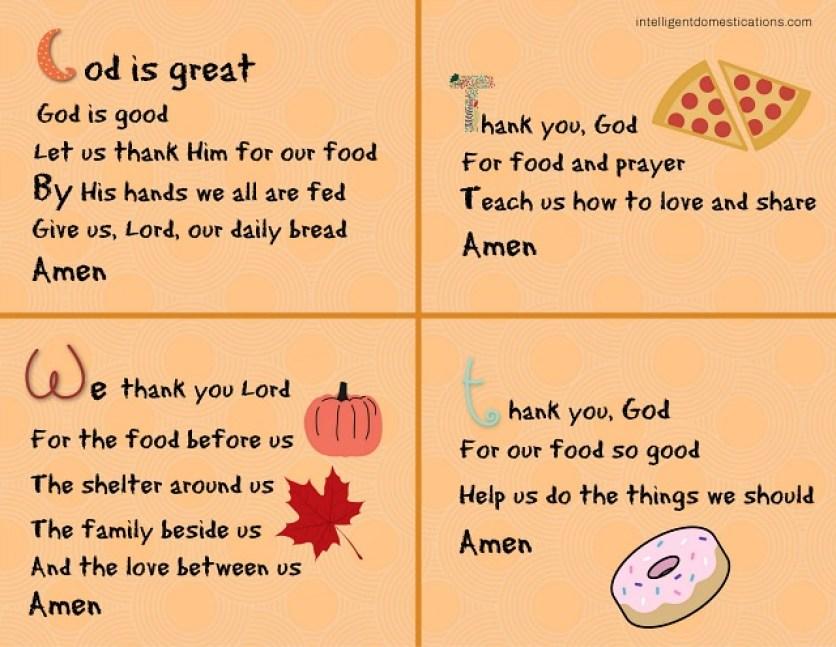 short mealtime prayers to teach children
