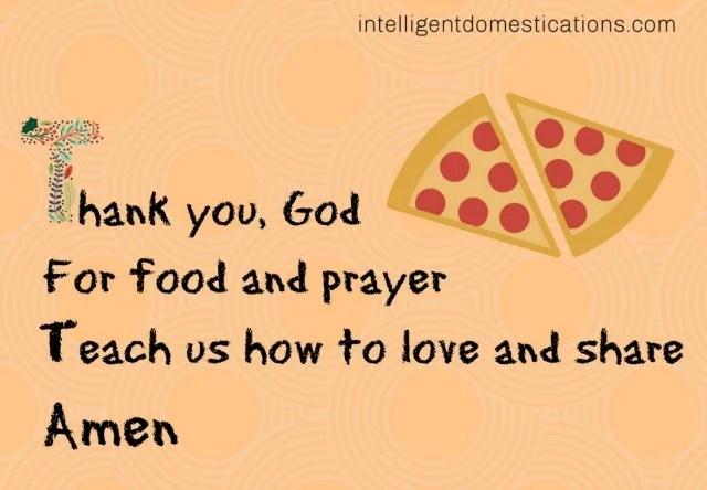 a child's mealtime prayer