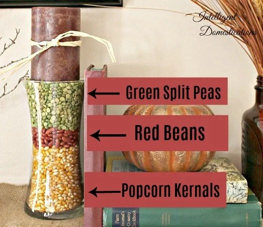 Cheap Vase Filler using dried peas and beans #diydecor