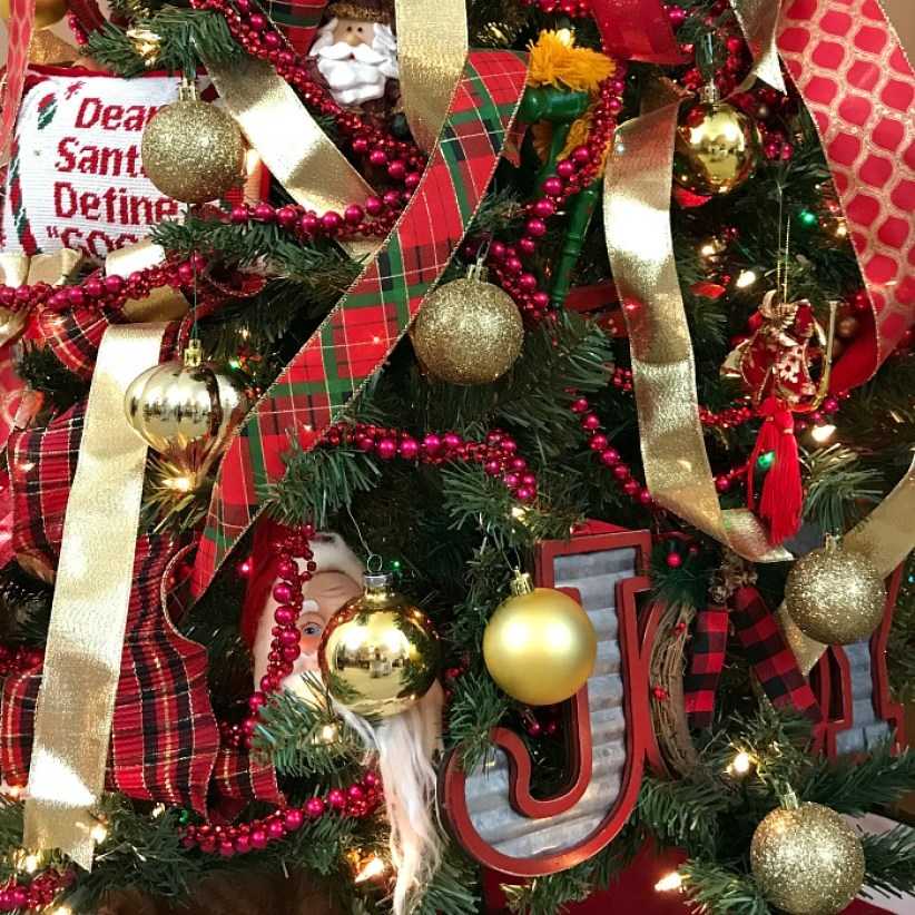Red and gold ribbon on a Christmas tree