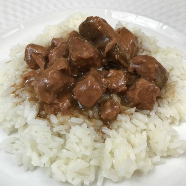 Beef Tips and Gravy on a bed of rice
