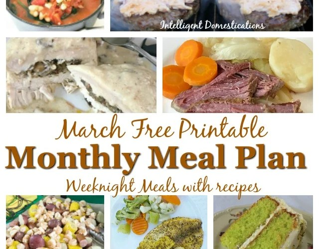 Free printable Monthly Meal Plan calendar including links to recipes.