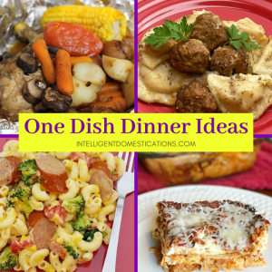 a photo collage of one dish dinner recipes