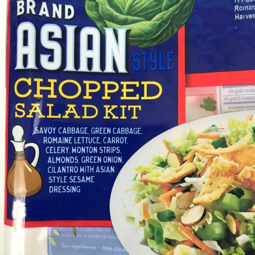 Asian Salad Kit pictured with the ingredients listed on front