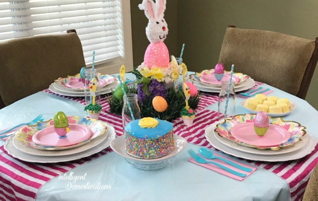 Create this Kids Easter Table with a few simple Easter Crafts along with some Spring Decor. Spring Pastels paired with polka dots and stripes create a fun and whimsical Easter Tablescape. #Easter #EasterTable #Eastercrafts