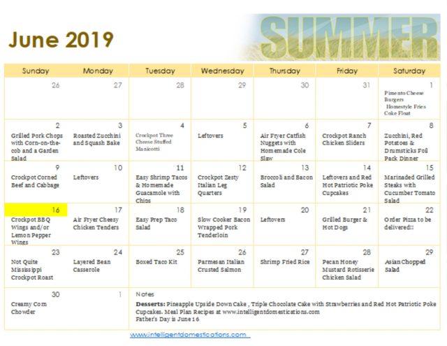 June Meal Plan Calendar printable. #mealplan