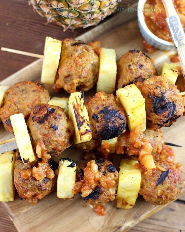 Easy Grilled Pineapple Meatball Skewers!