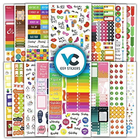 Vladi Creative Planner Stickers (Set of 1054 Stickers Value Pack)