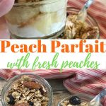 Small glass Mason jars filled with a peach parfait recipe of peaches, yogurt and granola