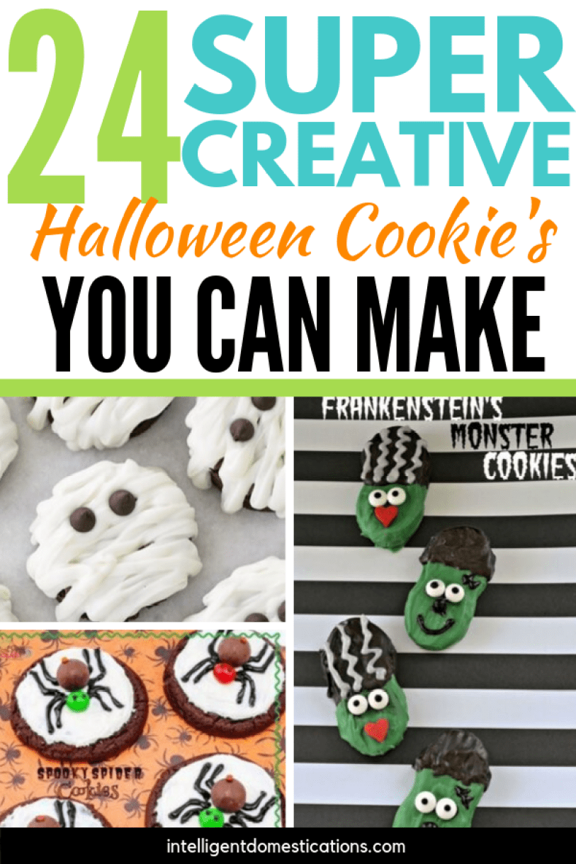 24 Super Creative Halloween Cookie recipes and ideas. No they are not all from scratch which is wonderful. Sometimes a few little decorating tricks are all you need to treat the kiddos with a Halloween dessert. #halloween #cookies